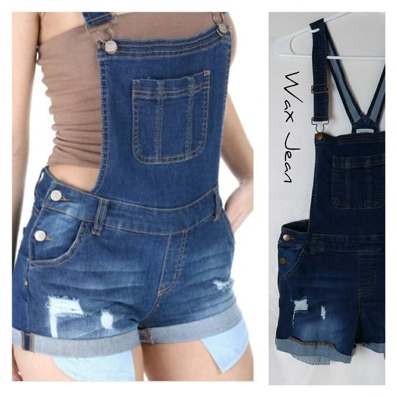 e64d72bd3e7 Wax Jean Shorts Overalls Distress Exposed pocket. M 5b999b9fd6dc52057d080bb3